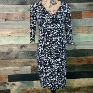 Dresses & Skirts - Apt. 9 Black and White Faux Wrap Dress size Medium